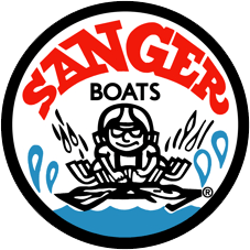 Sanger Boats logo with cartoon image of a boater racing in splashing water